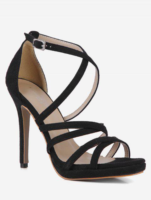 Stiletto Heels Strap Decoration Sandals - BLACK EU 35