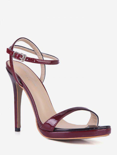 Ankle Strap PU Leather Stiletto Heel Sandals - RED EU 37