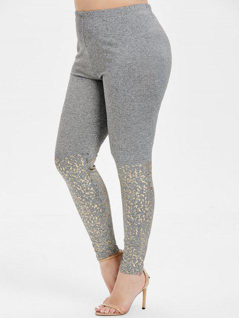 Plus Size High Waist Skinny Leggings - GRAY CLOUD L