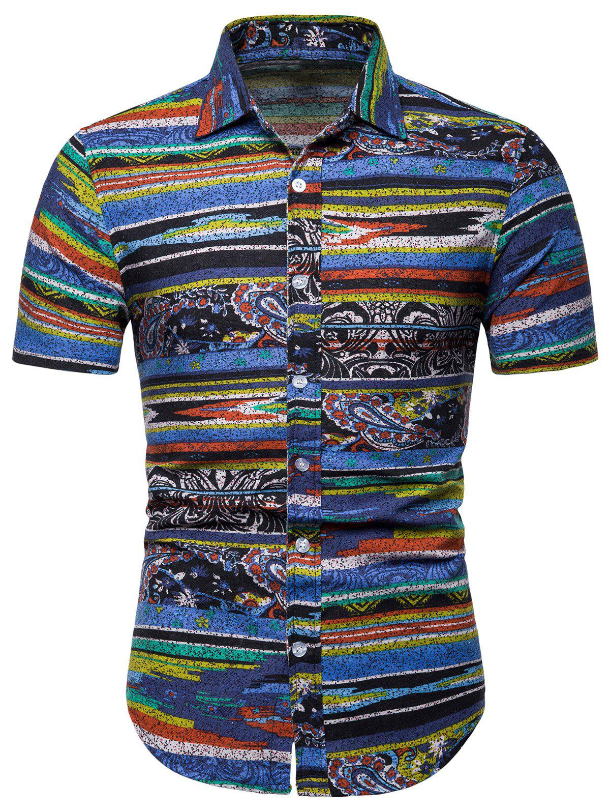 Striped Paisley Print Short Sleeve Soft Shirt - BLUE 2XL