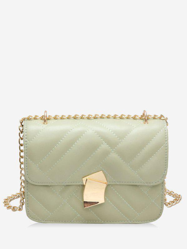 Metal Decoration Cross Body Chain Quilted Bag - MINT GREEN