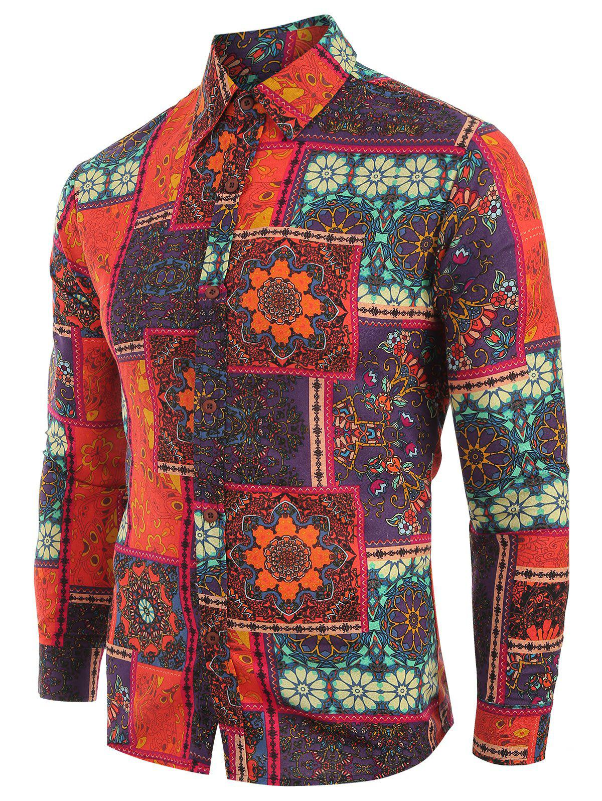 Ethnic Tribal Flowers Print Casual Shirt - multicolor S