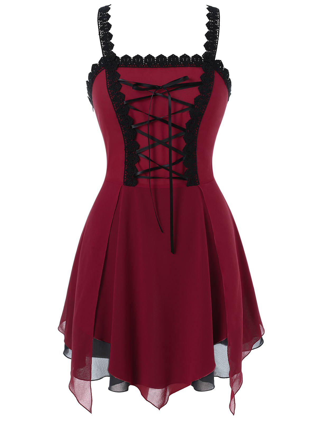 Plus Size Lace Up Layered Tank Top - RED WINE L