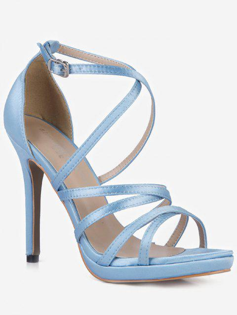 Crisscross Strappy Stiletto Heel Sandals - LIGHT BLUE EU 36