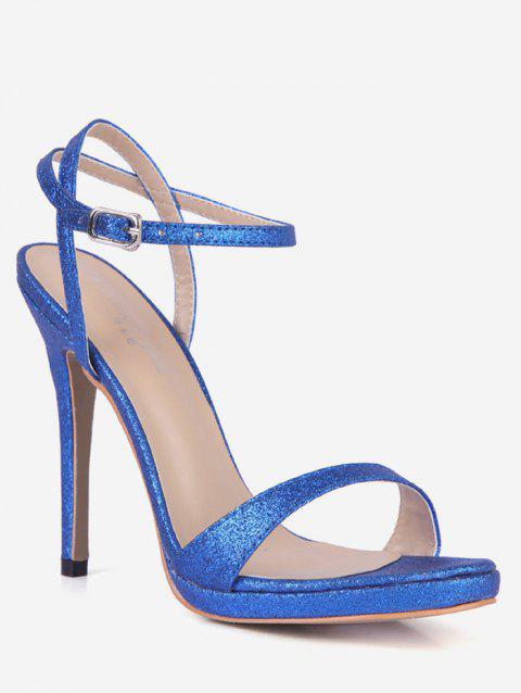 Glitter Stiletto Heel Ankle Strap Sandals - BLUE EU 38