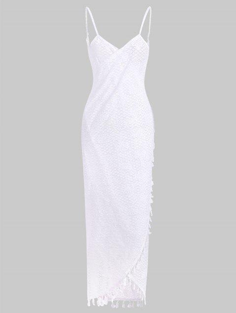 Tassel Lace Open Back Cover Up Dress - WHITE ONE SIZE
