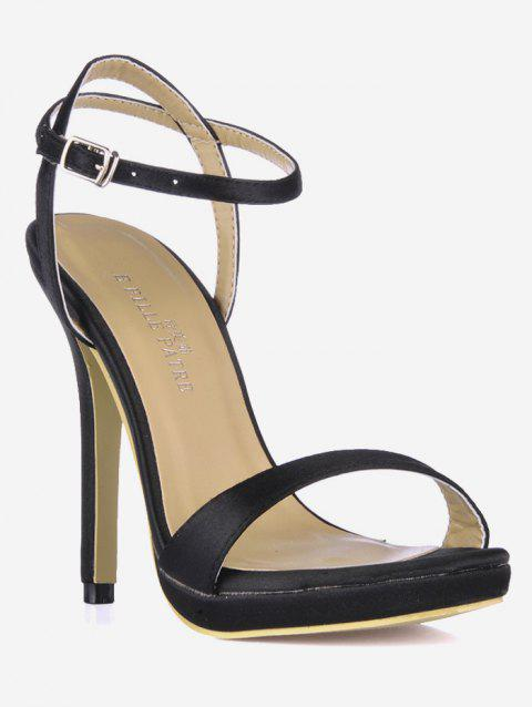 Buckle Strap Design Stiletto Heels Sandals - BLACK EU 37