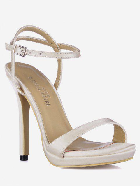 Buckle Strap Design Stiletto Heels Sandals - CRYSTAL CREAM EU 38