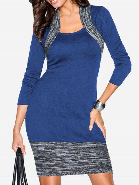 677d039aaaa 17% OFF  2019 Space Dye Insert Long Sleeve Bodycon Dress In BLUE ...