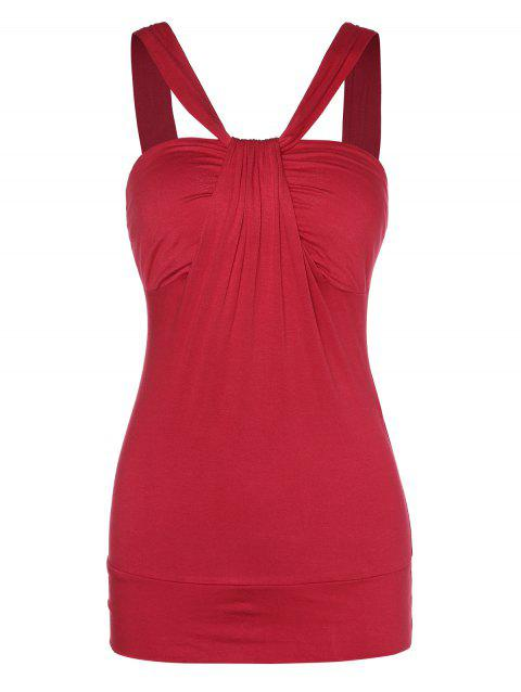 V Neck Solid Sleeveless Tank Top - LAVA RED XL