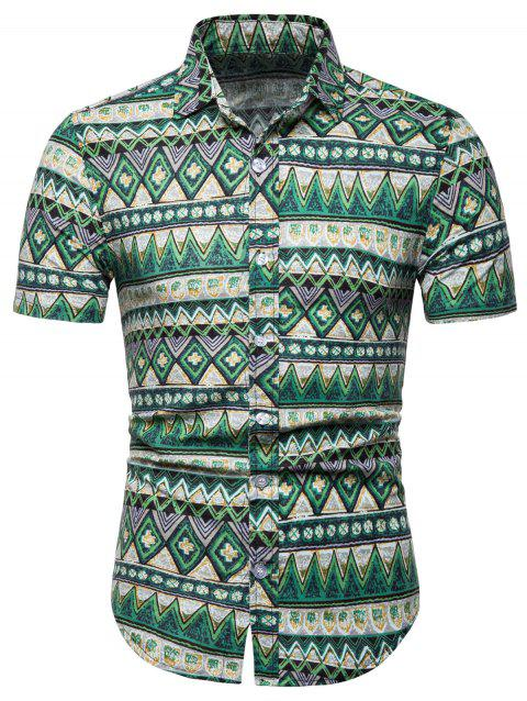 Contrast Geometric Short Sleeve Shirt - GREEN L