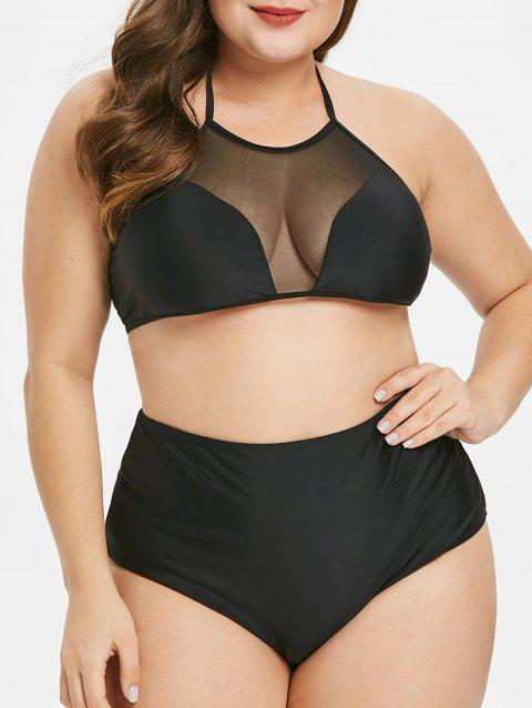 Plus Size Mesh Panel Halter Bikini Set
