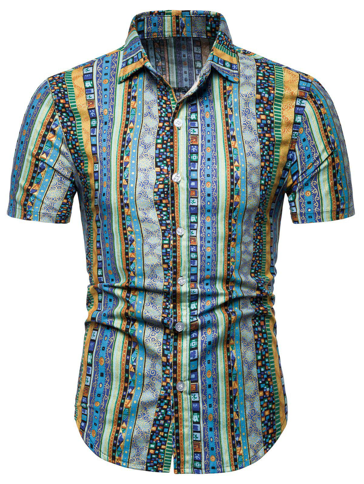 Jacquard Print Short Sleeve Shirt - BLUE XL