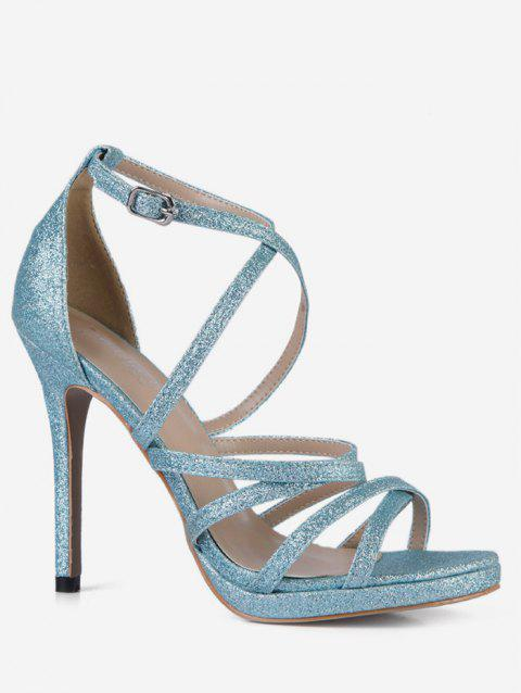 Glitter Crisscross Strap High Heel Sandals - LIGHT BLUE EU 42