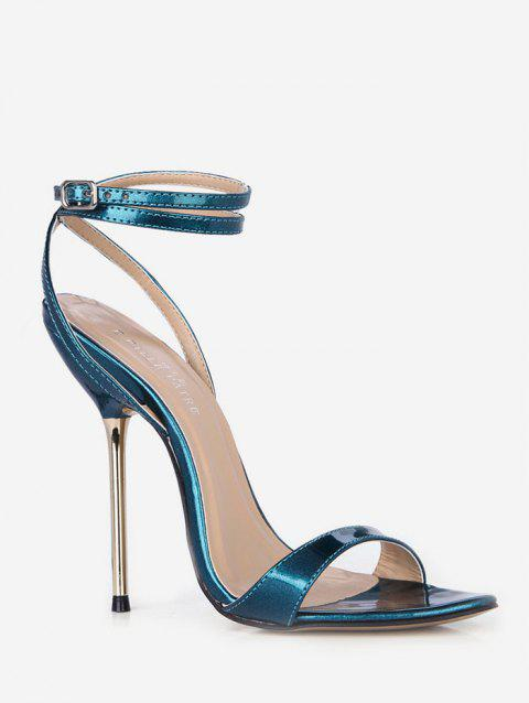 Buckle Strap Decoration Stiletto Heels Sandals - PEACOCK BLUE EU 35