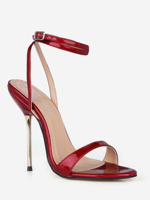 Buckle Strap Decoration Stiletto Heels Sandals - RED WINE EU 43