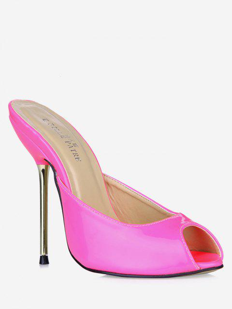 Patent Leather Peep Toe Heeled Slippers - PINK EU 38