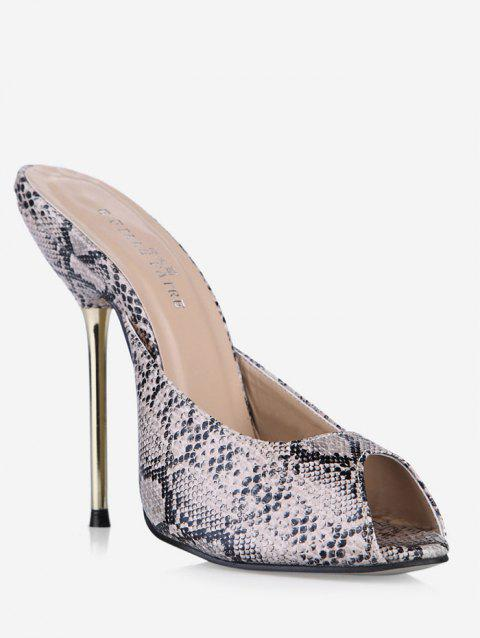 Snake Print Peep Toe Stiletto Heel Slippers - GRAY EU 38