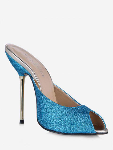 Paillette Peep Toe Design Sandal Pumps - BLUE EU 40