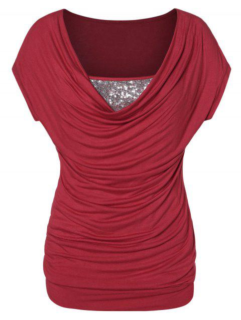 Plus Size Glitter Ruched T Shirt - RED 1X