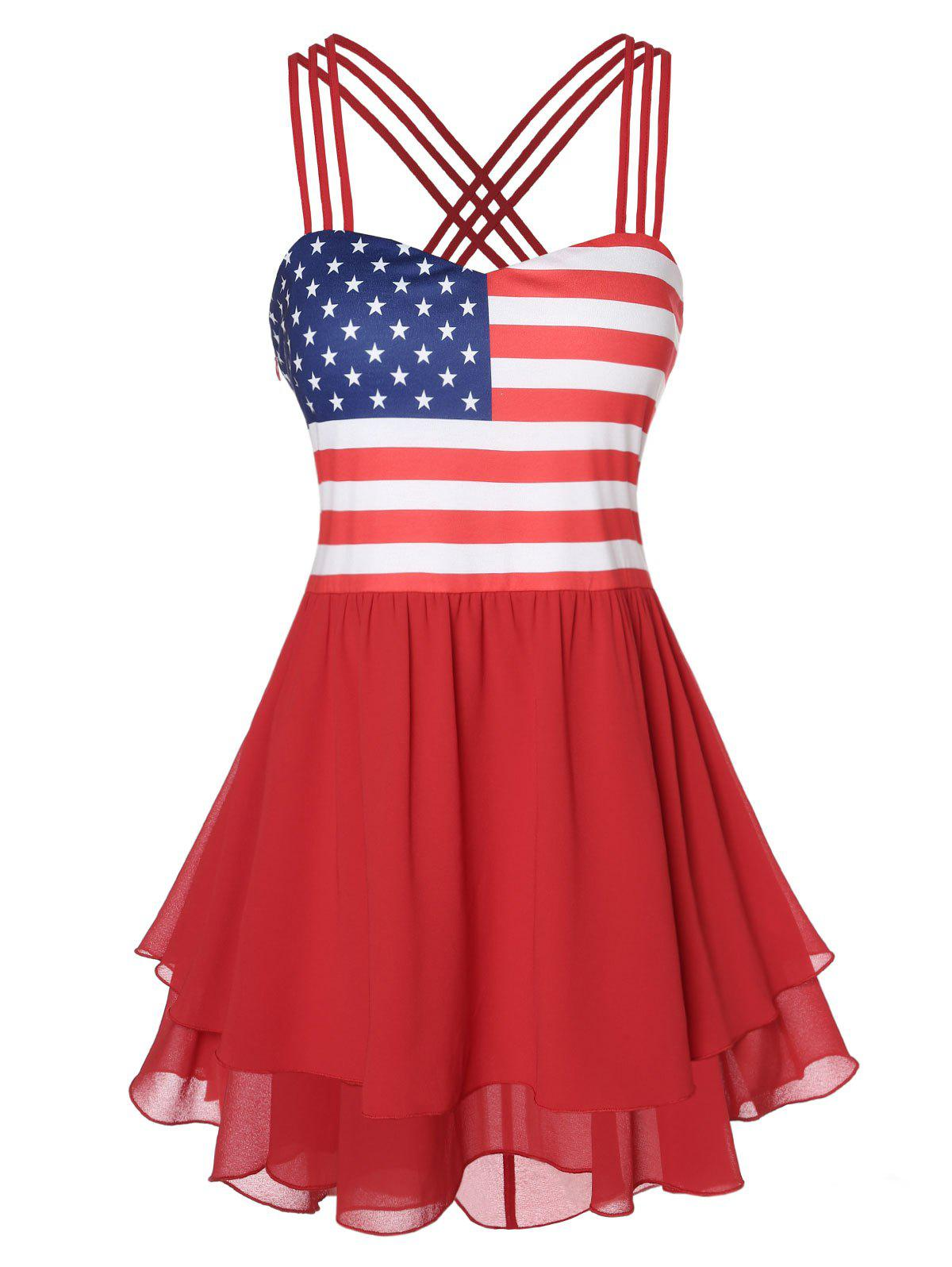 Plus Size Cami American Flag Tiered Tank Top - RED 4X