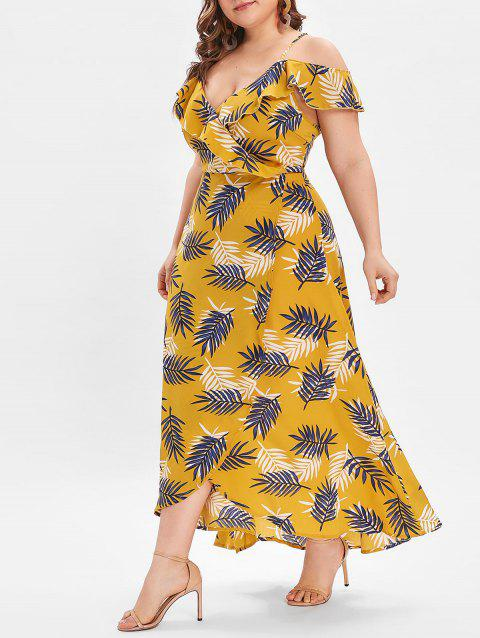 2019 Plus Size Leaves Print High Slit Maxi Dress In BEE YELLOW 4X ...