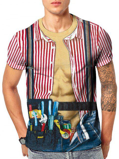 Faux Striped Shirt Tools Strap Print Casual T-shirt - multicolor 2XL