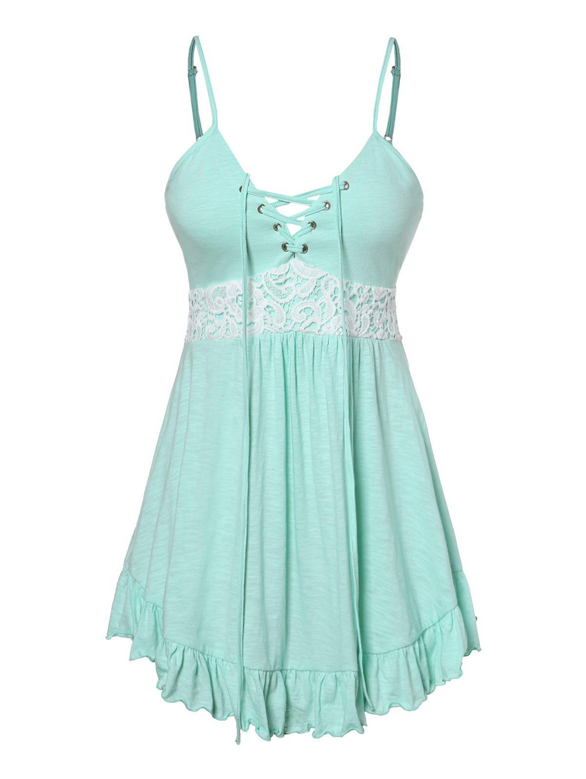 Plus Size Cami Lace Panel Tank Top - LIGHT AQUAMARINE 4X
