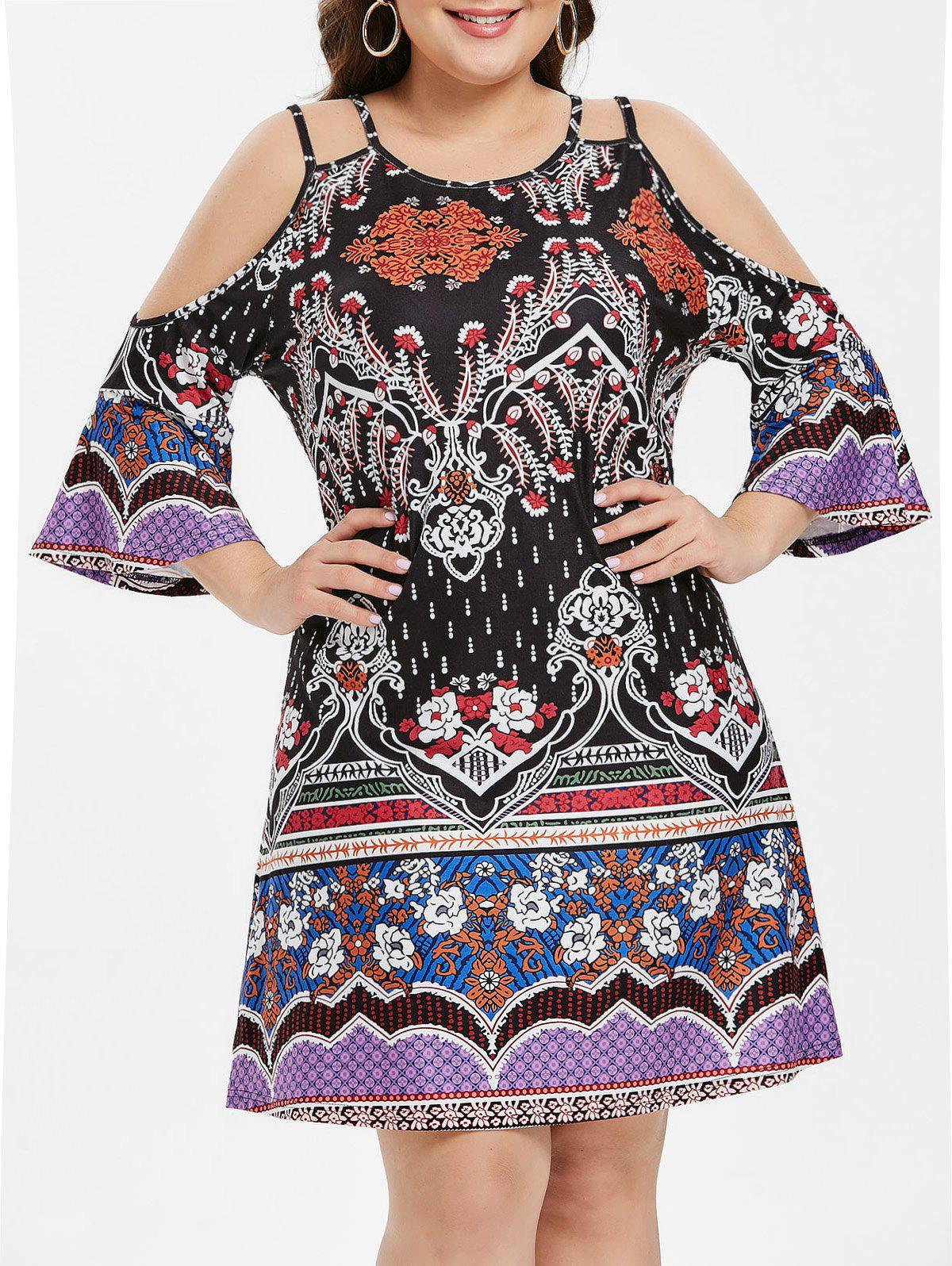 Plus Size Tribe Print Flare Sleeve Shift Dress - BLACK 3X