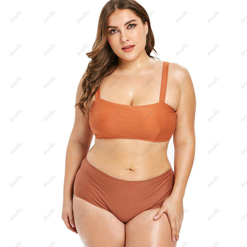 Plus Size Contrast Bikini Set, Tiger orange