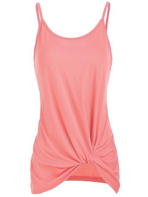 Solid Knotted Tank Top - LIGHT CORAL L