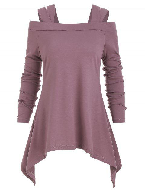 Long Sleeve Cold Shoulder Asymmetric Tee - PINK ROSE M
