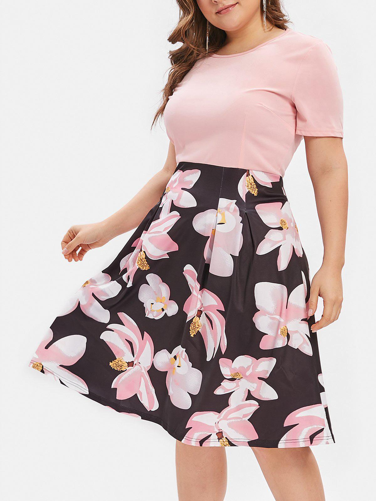 Plus Size Flower Print A Line Dress - LIGHT PINK 2X