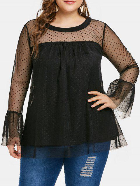 6913a0ad18d843 Plus Size See Through Polka Dot Pattern Flare Sleeve Mesh Blouse