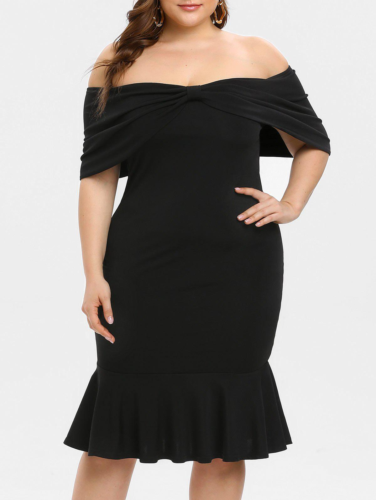Plus Size Off Shoulder Bodycon Dress Mermaid - BLACK 2X