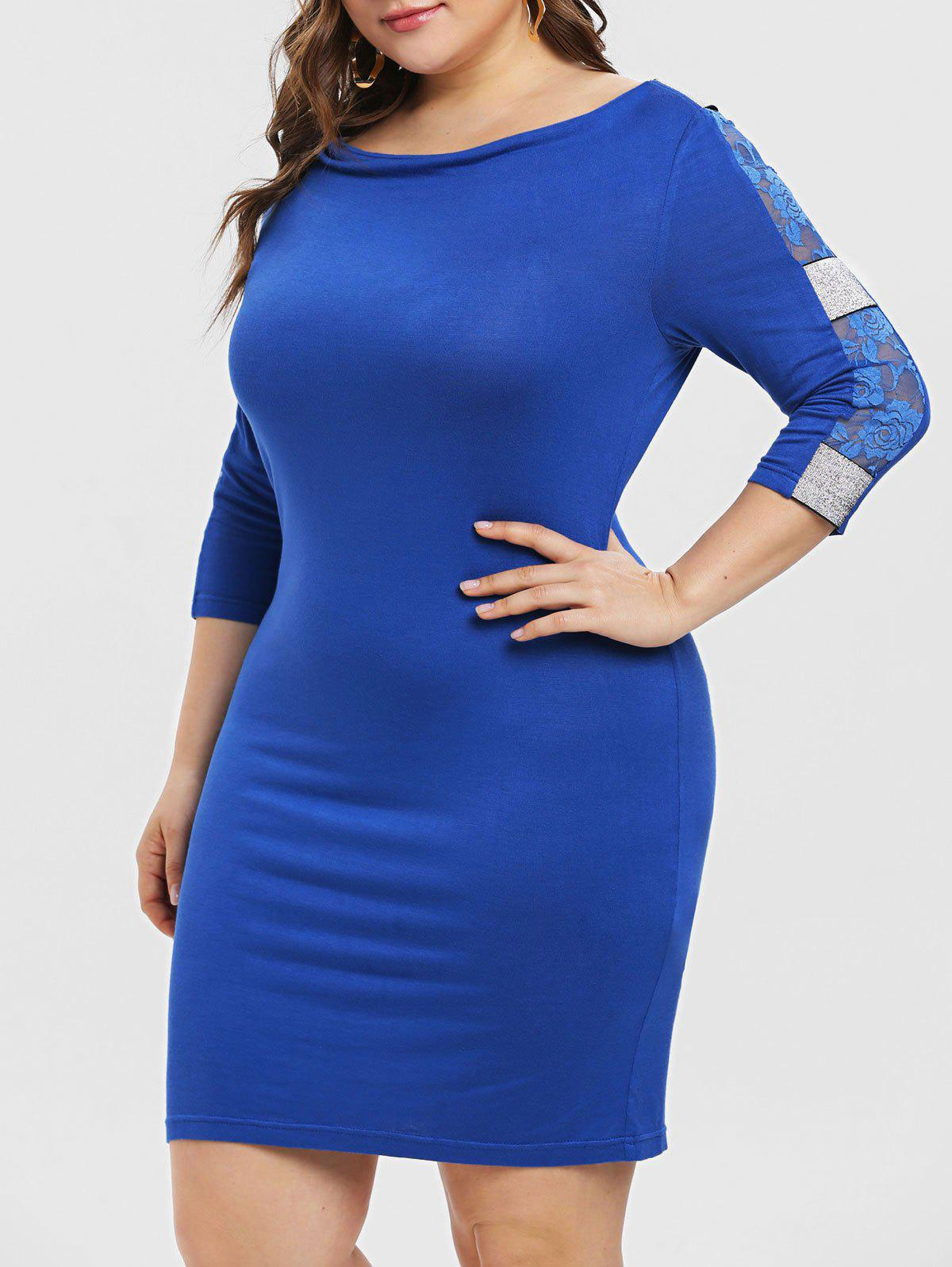 Plus Size Lace Insert Sequined Bodycon Dress - BLUE 4X