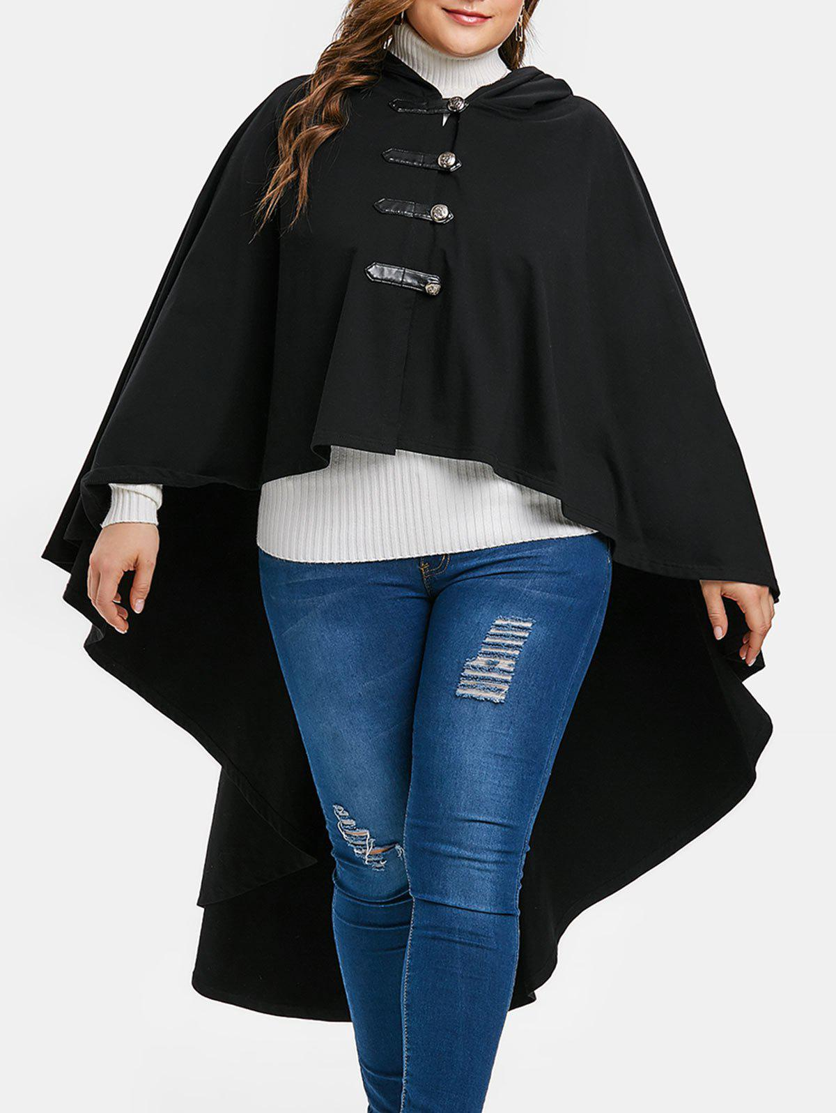 Halloween Plus Size Hooded High Low Coat - BLACK L