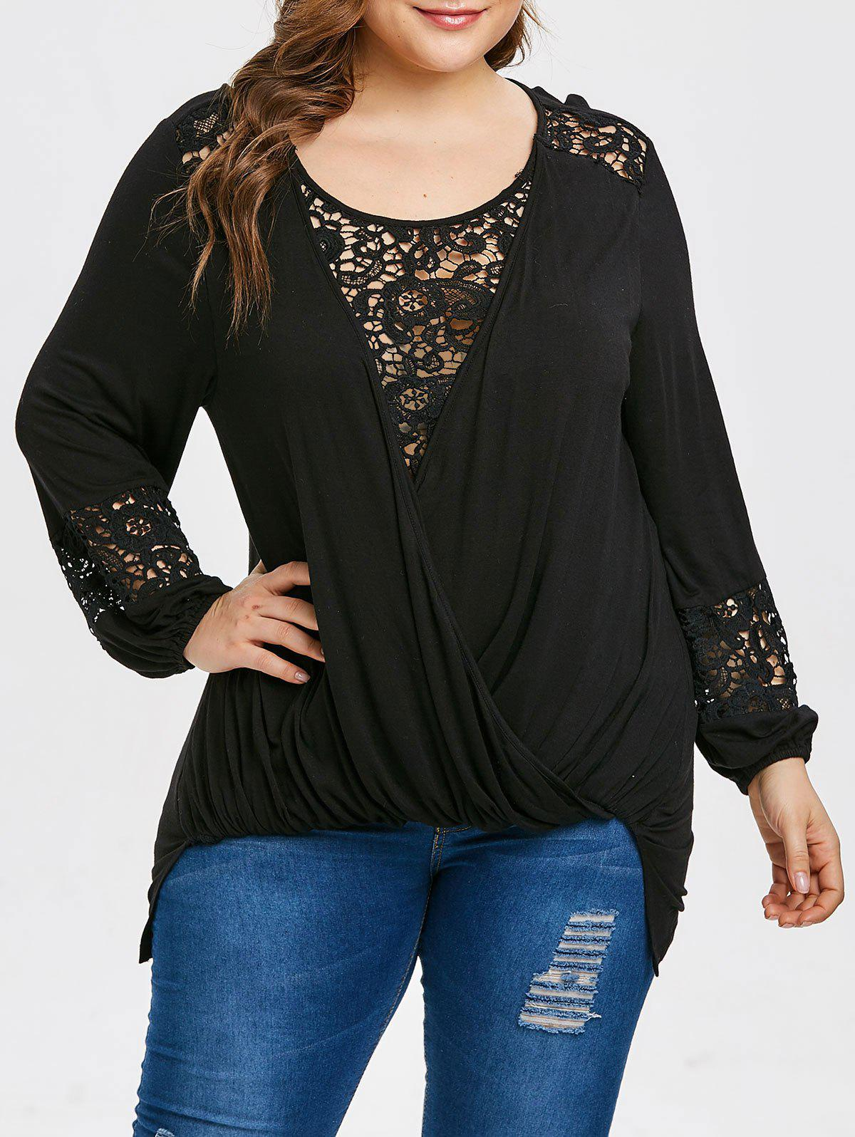 Plus Size Lace Insert Hollow Out Wrap T-shirt - BLACK 3X