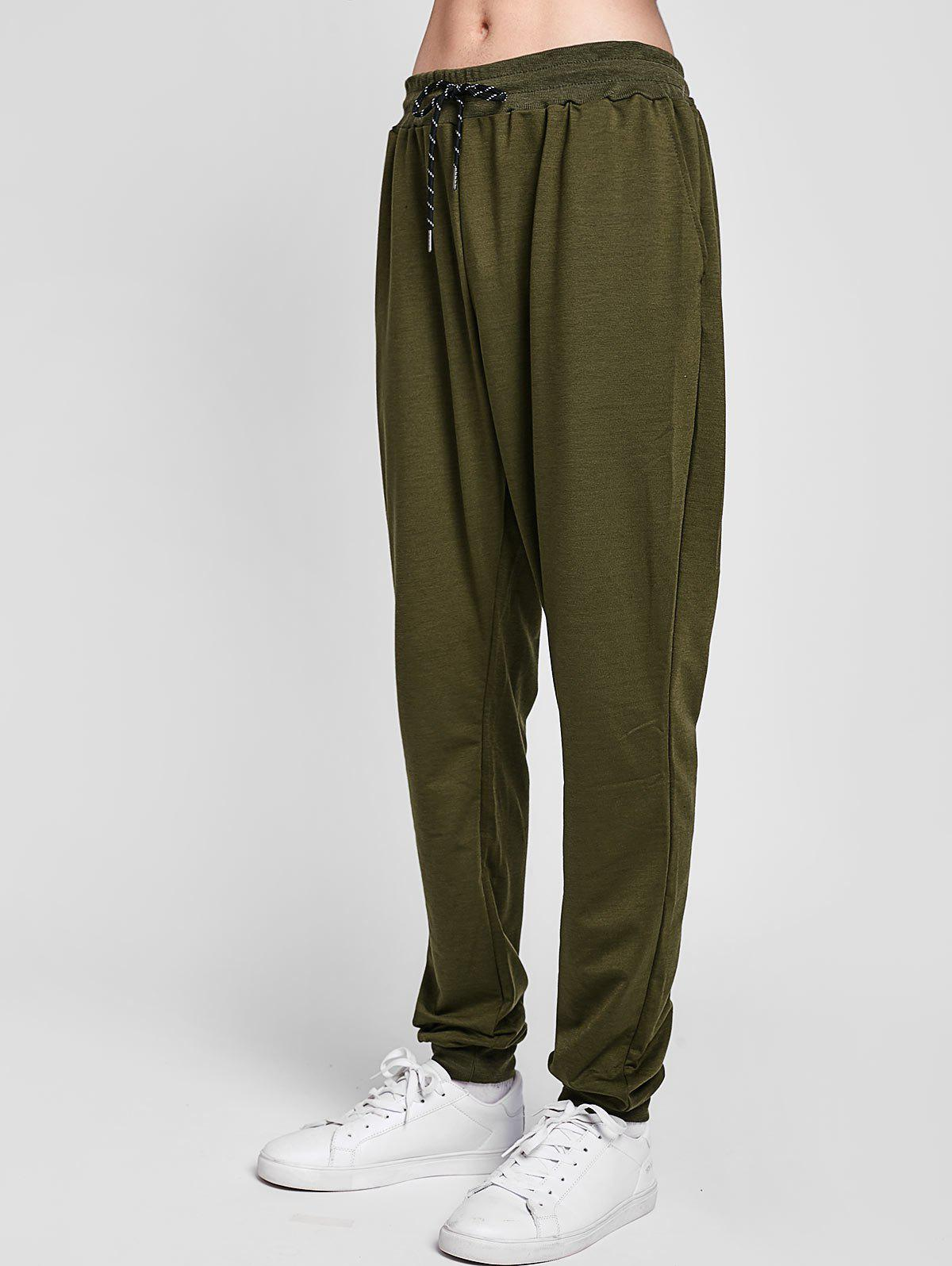 Solid Side Pockets Casual Jogger Pants - ARMY GREEN L