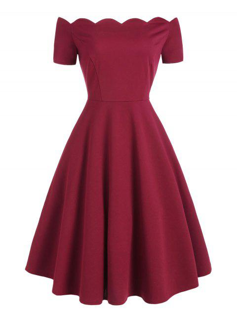 Short Sleeve Scalloped A Line Dress - RED WINE M