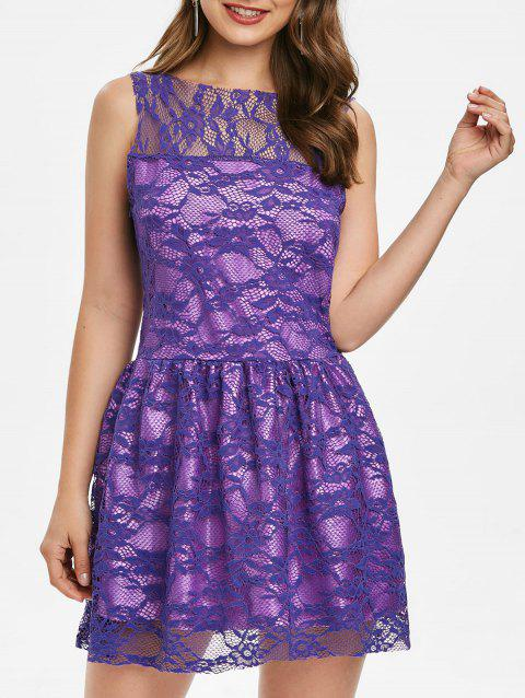 Sleeveless Lace Mini A Line Dress - PURPLE XL
