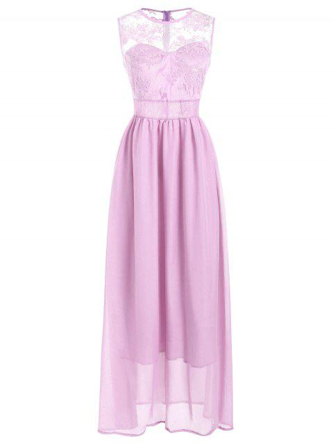 Lace Insert Maxi Party Dress - PIG PINK XL