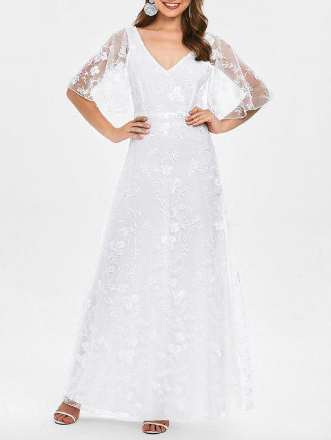 V Neck Lace Embroidered Prom Dress - WHITE XL