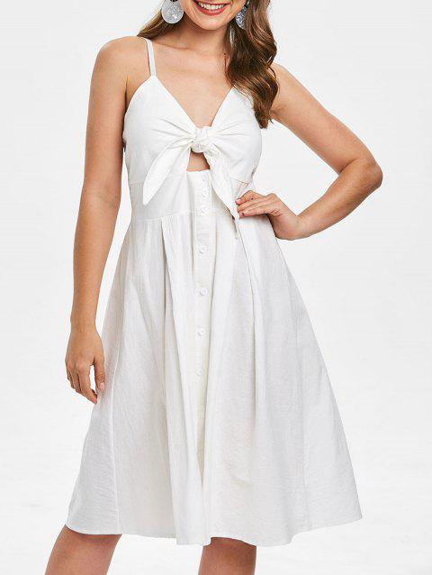 6b99f3213382 61% OFF] 2019 Smocked Tie Front Buttoned Cami Dress In WHITE | DressLily