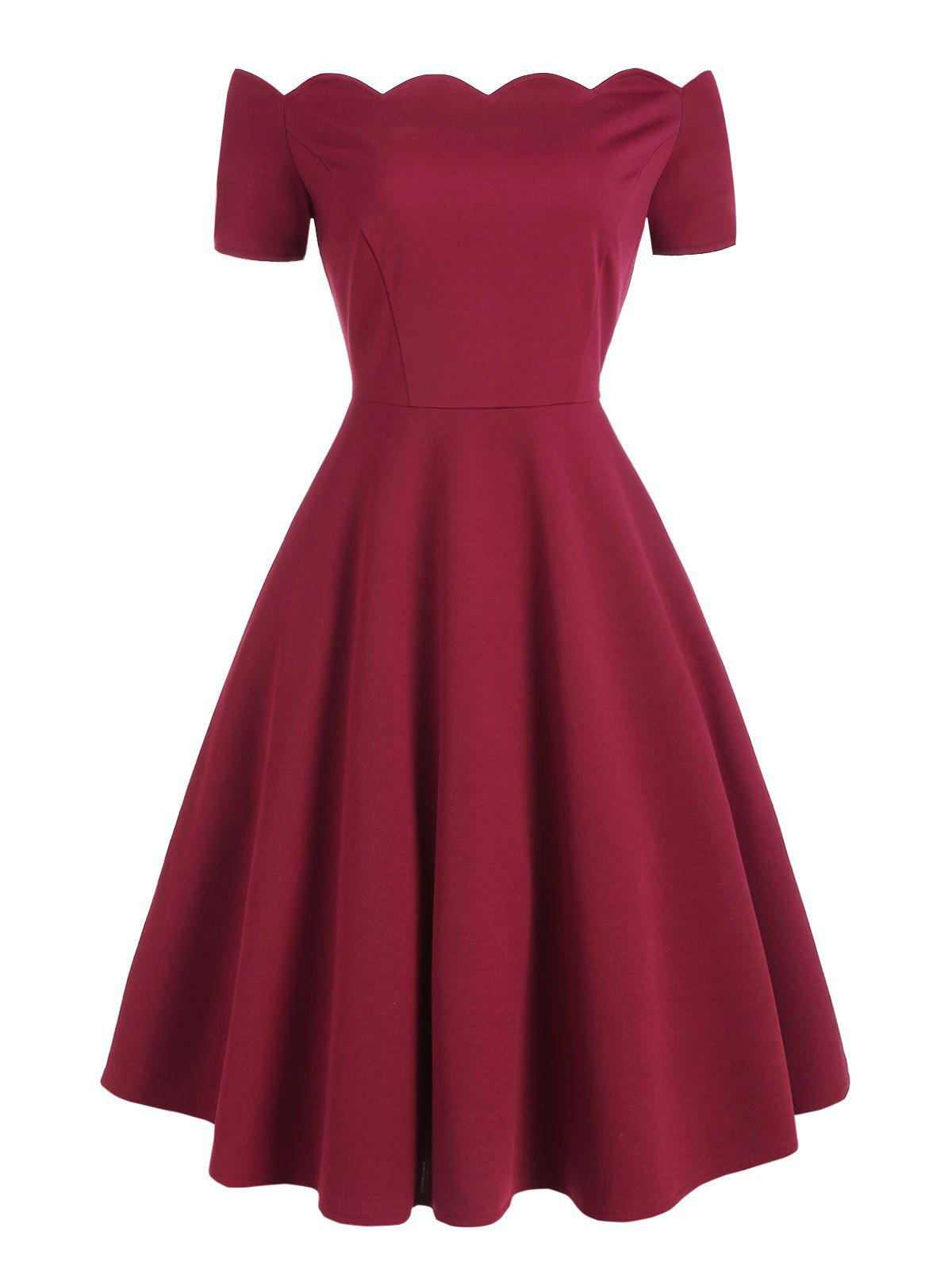 Short Sleeve Scalloped Rockabilly Style A Line Dress - RED WINE M