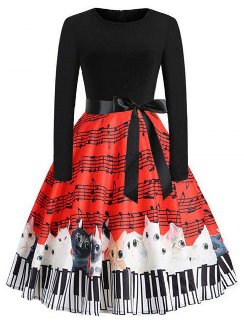Round Neck Music and Cat Print Vintage Dress - multicolor L