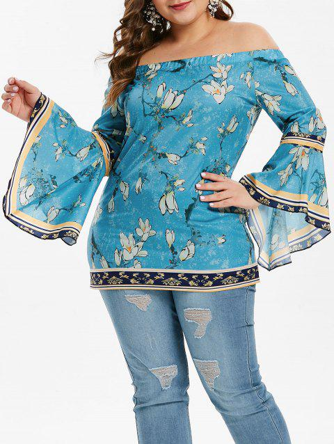 Bell Sleeve Plus Size Floral Print Blouse