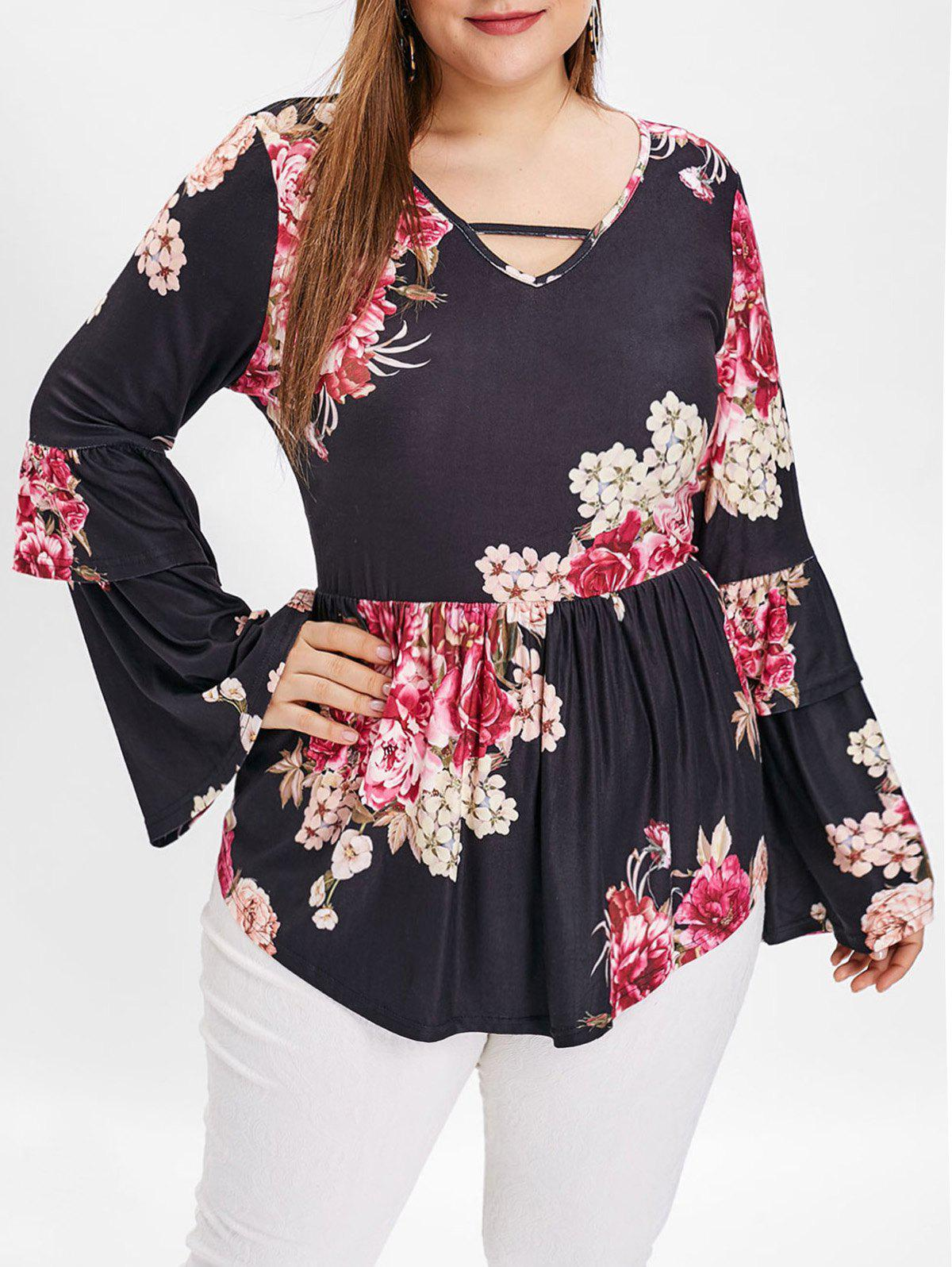 Plus Size Layered Flare Sleeve Floral Print T-shirt - BLACK 5X