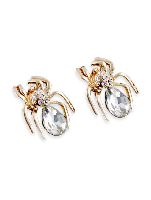 Spider Stud Earrings with Faux Crystal - GOLD
