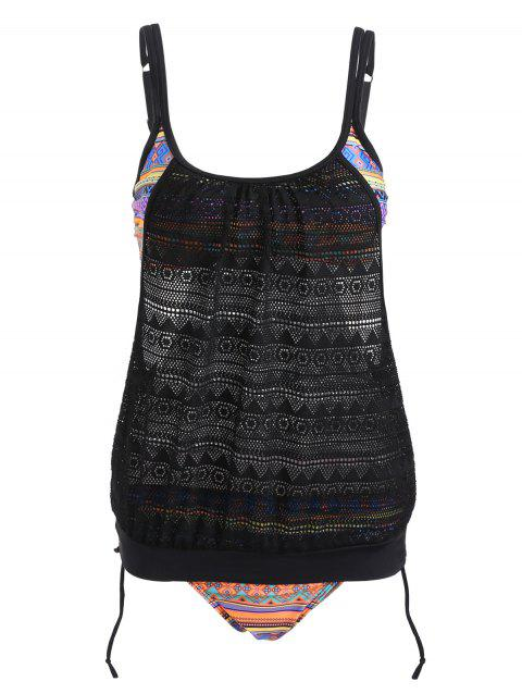Ethnic Geometric Crochet Tankini Set - BLACK 2XL